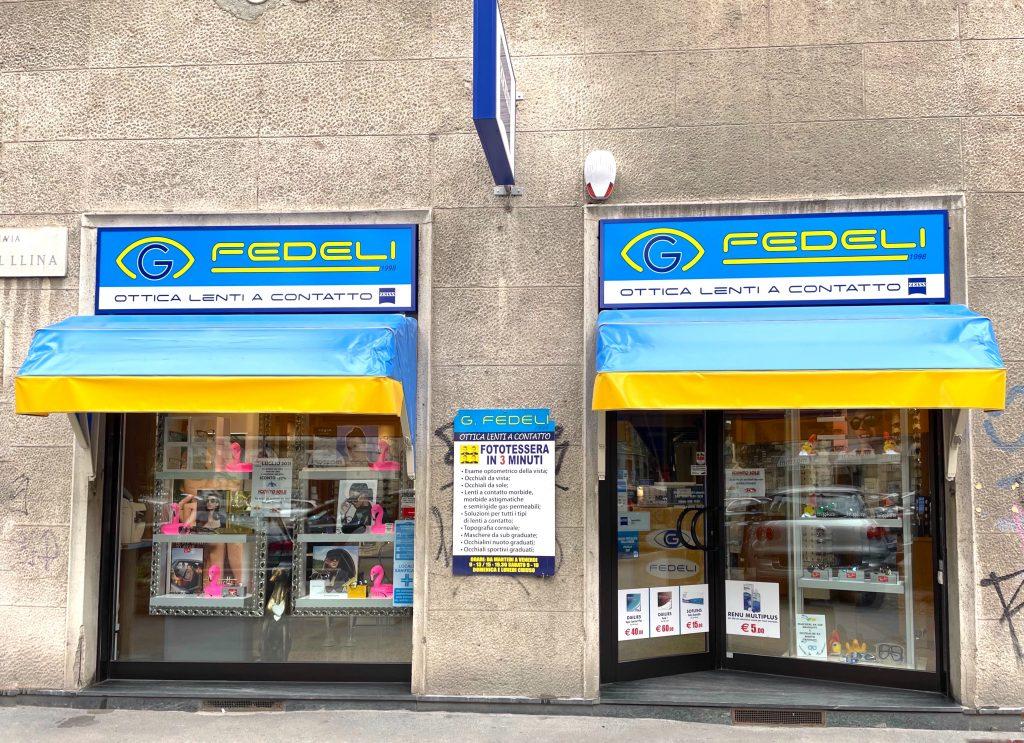 G Fedeli Ottica vetrine negozio via Lomellina 11 Milano